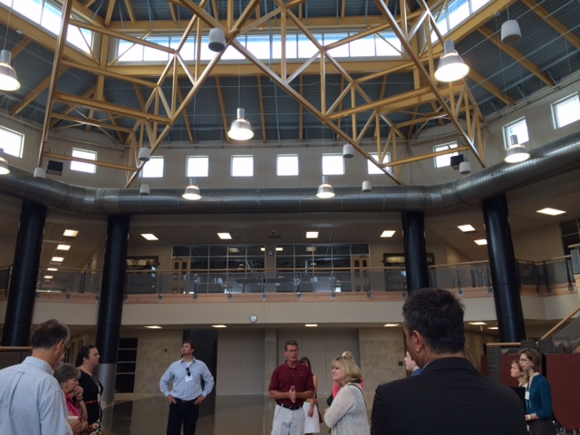 The tour kicked off in the primary indoor gathering space, a centrally located cafeteria