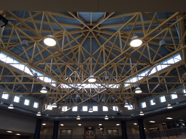 Truss details in the cafeteria space