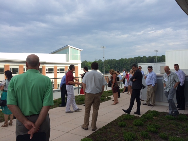 Hampton Roads Green Building Council Members tour the green roof overlooking the courtyard